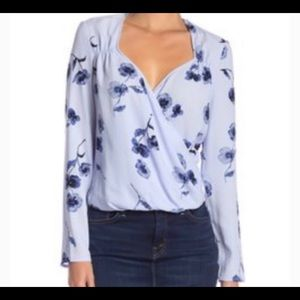 Free Press Surplice Neck Floral long Sleeve Top S